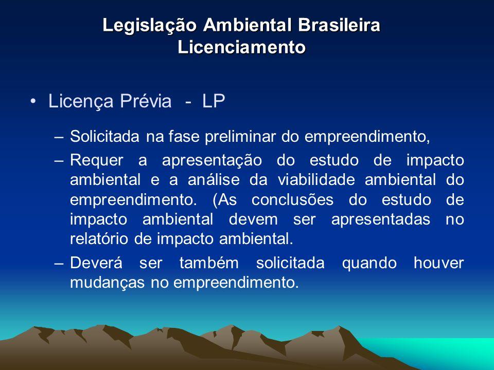 Legislação Ambiental Brasileira Licenciamento Licença Prévia - LP –Solicitada na fase preliminar do empreendimento, –Requer a apresentação do estudo d
