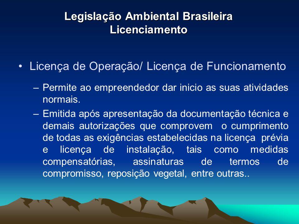 Legislação Ambiental Brasileira Licenciamento Licença de Operação/ Licença de Funcionamento –Permite ao empreendedor dar inicio as suas atividades nor