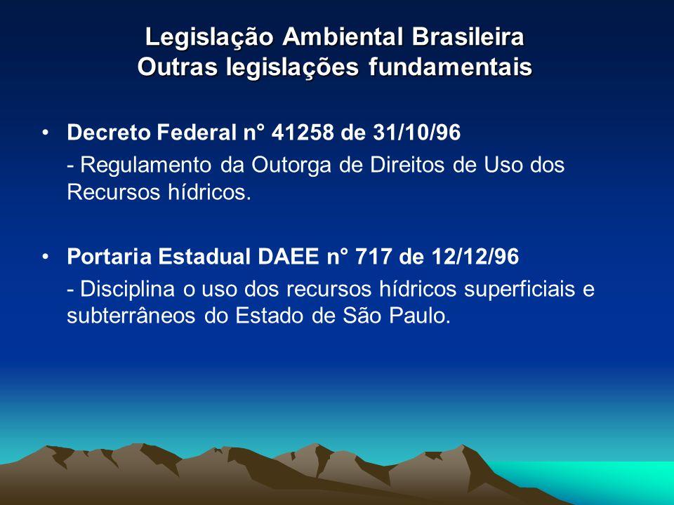 Legislação Ambiental Brasileira Outras legislações fundamentais Decreto Federal n° 41258 de 31/10/96 - Regulamento da Outorga de Direitos de Uso dos R