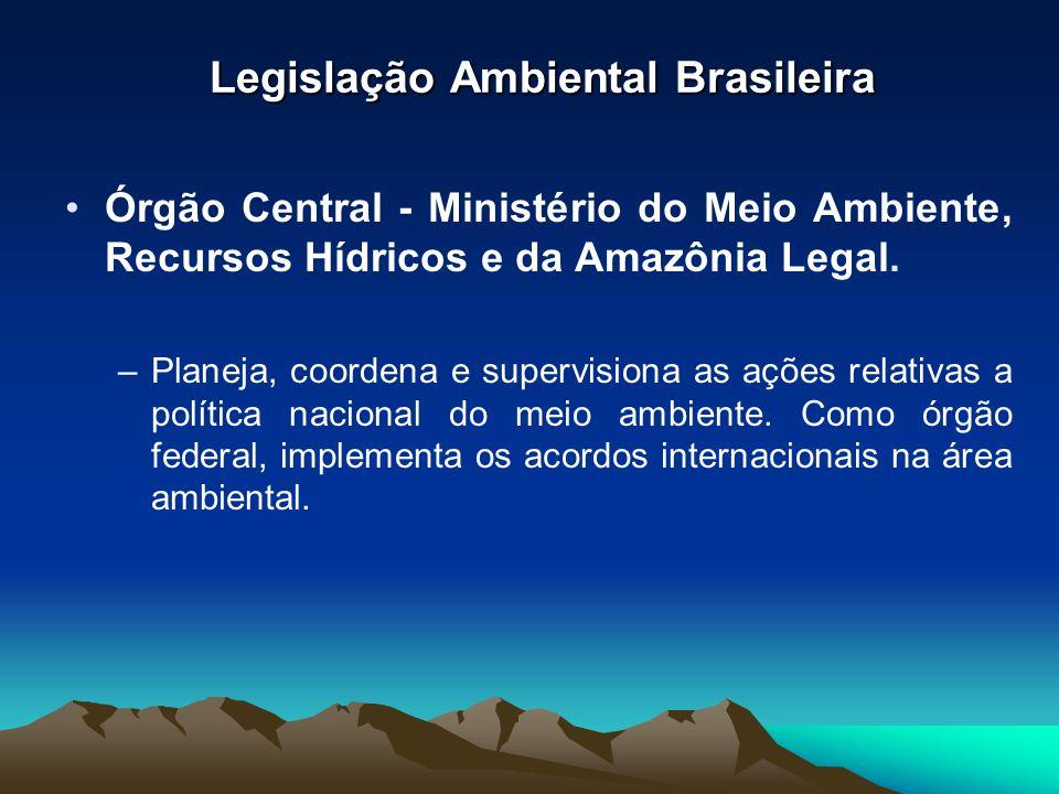 Órgão Central - Ministério do Meio Ambiente, Recursos Hídricos e da Amazônia Legal. –Planeja, coordena e supervisiona as ações relativas a política na