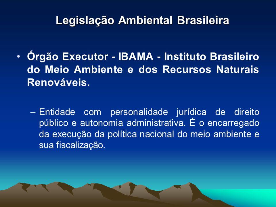 Legislação Ambiental Brasileira Órgão Executor - IBAMA - Instituto Brasileiro do Meio Ambiente e dos Recursos Naturais Renováveis. –Entidade com perso