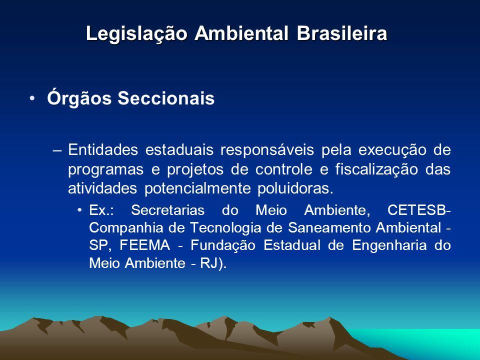 Legislação Ambiental Brasileira Órgãos Seccionais –Entidades estaduais responsáveis pela execução de programas e projetos de controle e fiscalização d