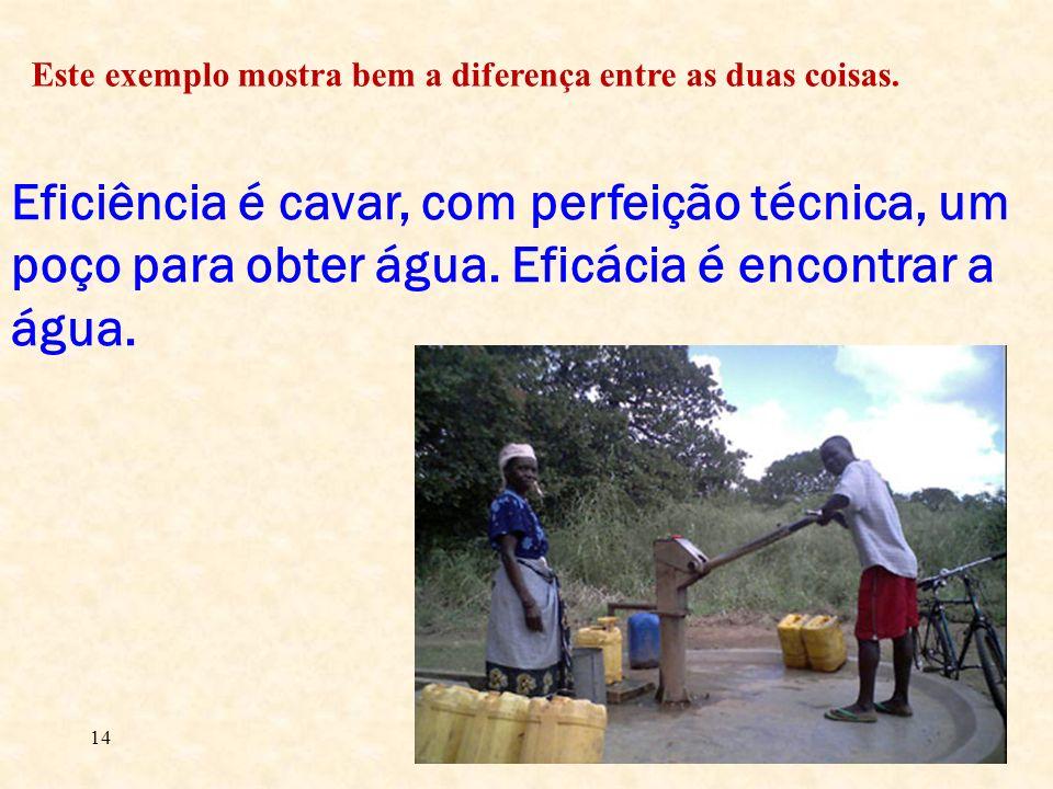 14 Eficiência é cavar, com perfeição técnica, um poço para obter água. Eficácia é encontrar a água. Este exemplo mostra bem a diferença entre as duas