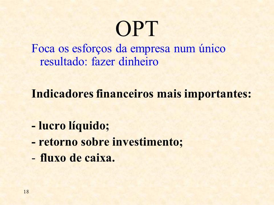 18 Foca os esforços da empresa num único resultado: fazer dinheiro Indicadores financeiros mais importantes: - lucro líquido; - retorno sobre investim