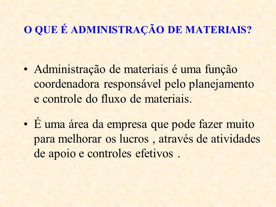 O QUE É ADMINISTRAÇÃO DE MATERIAIS? Administração de materiais é uma função coordenadora responsável pelo planejamento e controle do fluxo de materiai