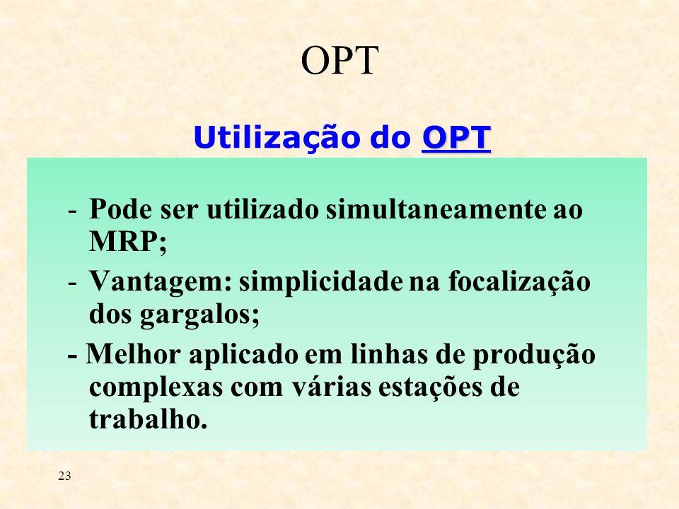23 OPT Utilização do OPT -Pode ser utilizado simultaneamente ao MRP; -Vantagem: simplicidade na focalização dos gargalos; - Melhor aplicado em linhas
