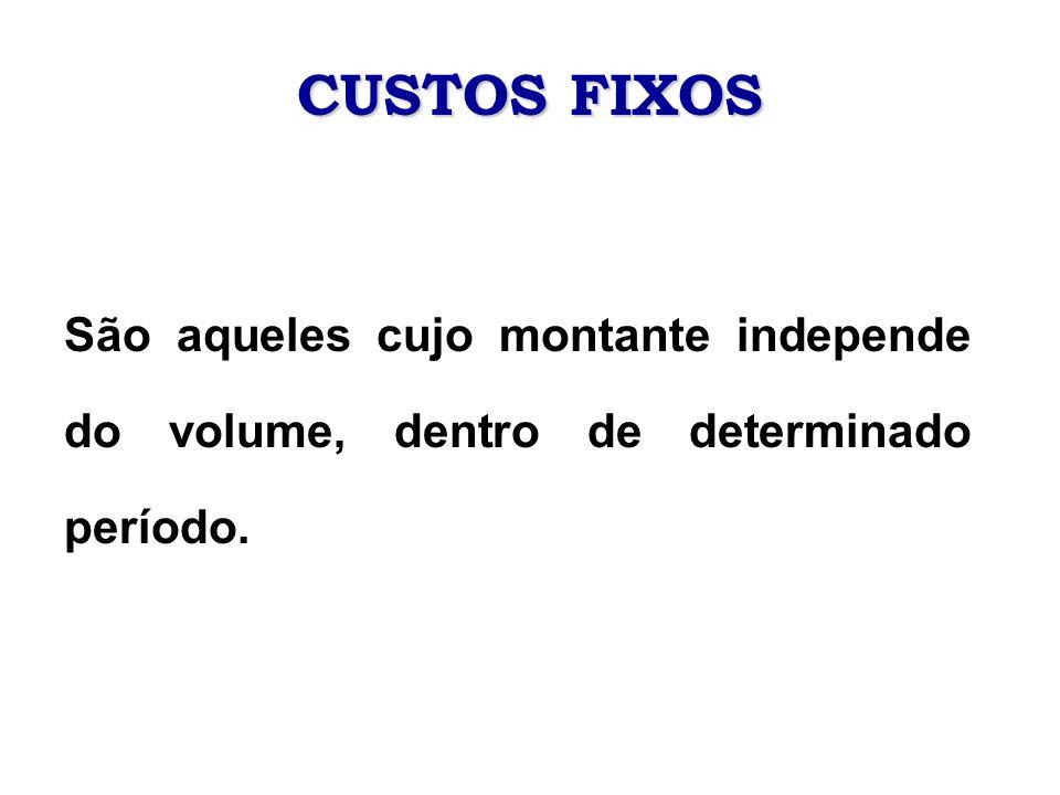 CUSTOS FIXOS São aqueles cujo montante independe do volume, dentro de determinado período.