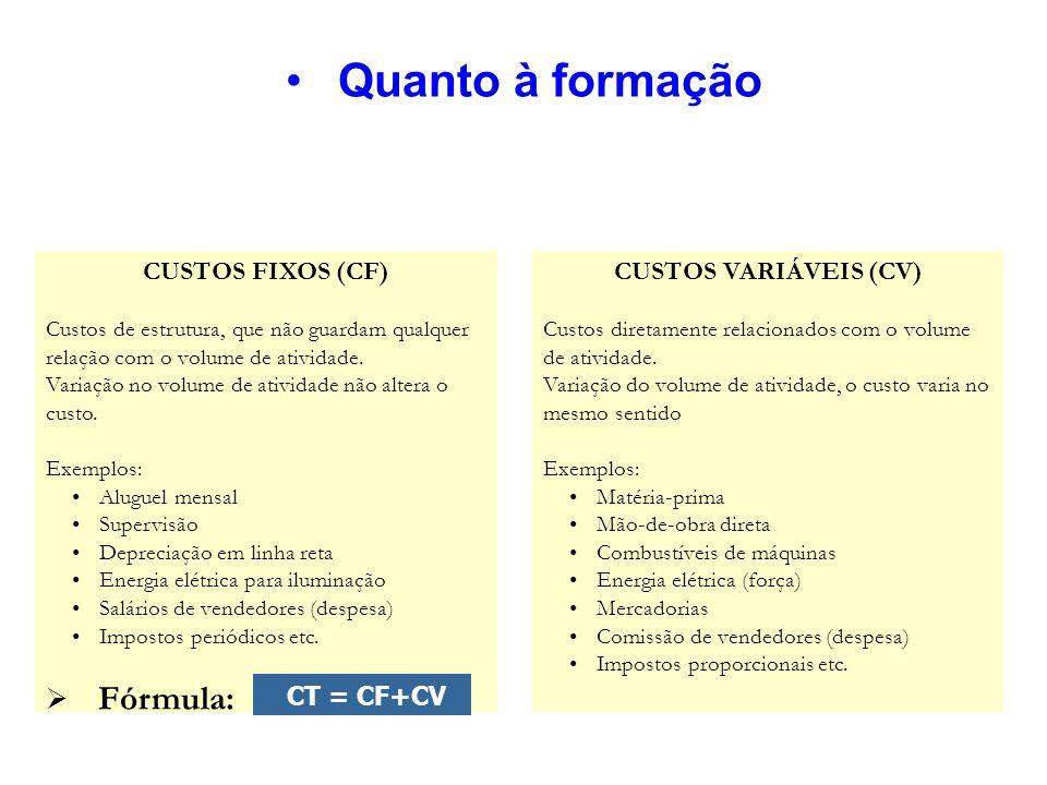 Quanto à formação CUSTOS FIXOS (CF) Custos de estrutura, que não guardam qualquer relação com o volume de atividade. Variação no volume de atividade n