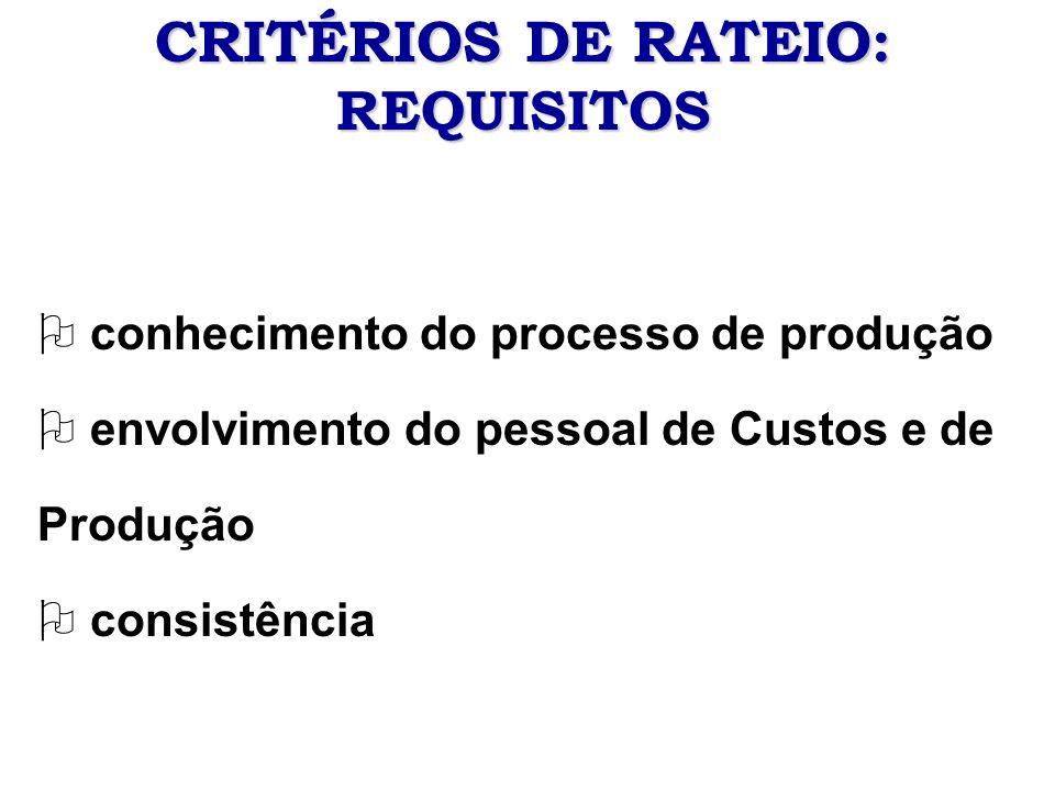 CRITÉRIOS DE RATEIO: REQUISITOS O conhecimento do processo de produção O envolvimento do pessoal de Custos e de Produção O consistência
