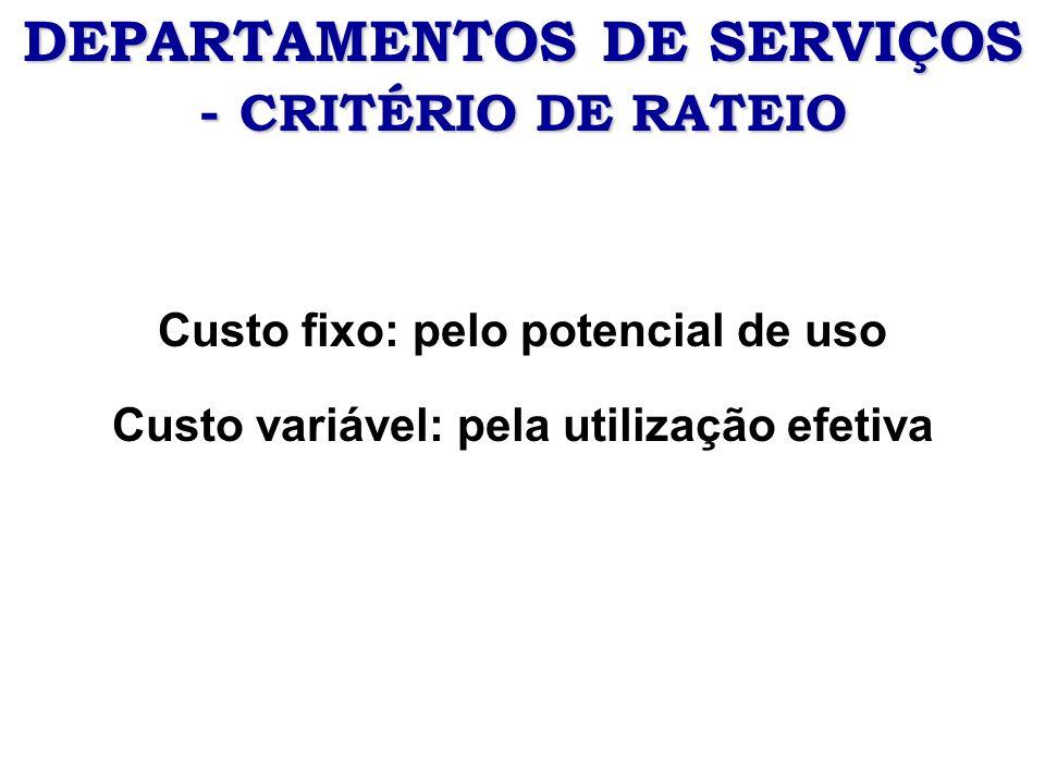 DEPARTAMENTOS DE SERVIÇOS - CRITÉRIO DE RATEIO Custo fixo: pelo potencial de uso Custo variável: pela utilização efetiva