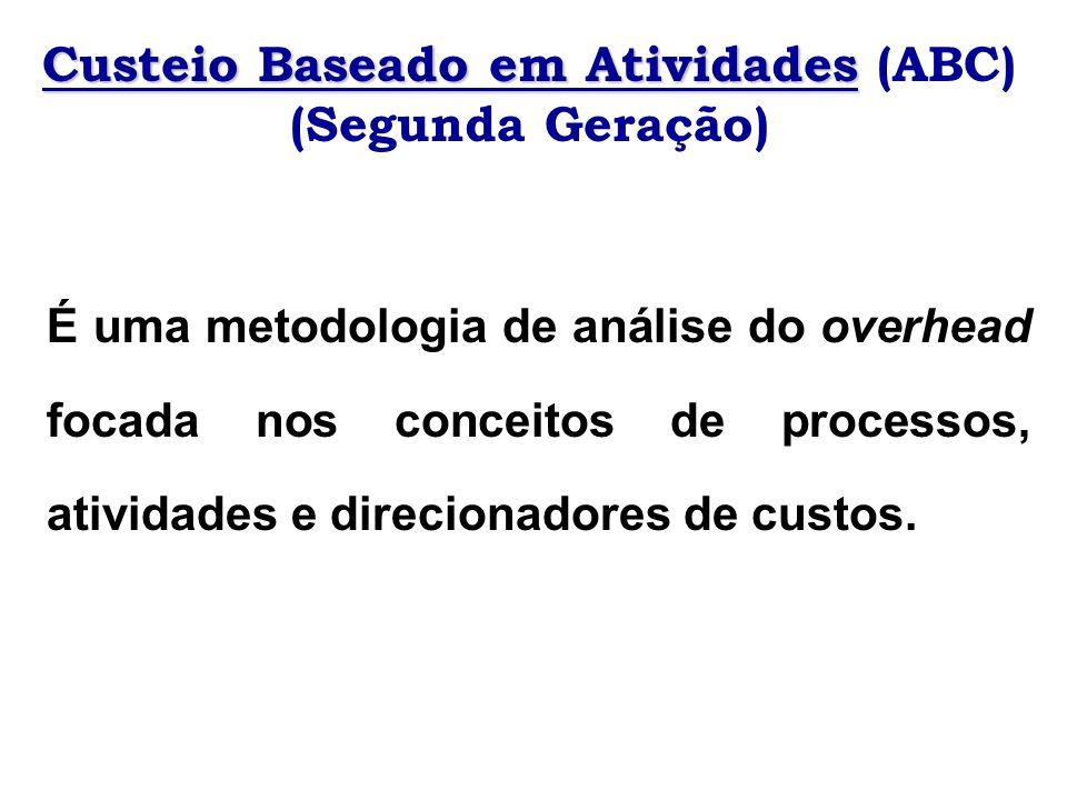 Custeio Baseado em Atividades Custeio Baseado em Atividades (ABC) (Segunda Geração) É uma metodologia de análise do overhead focada nos conceitos de p