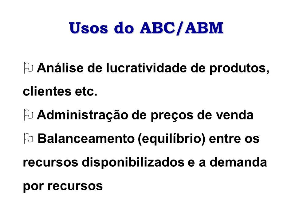 Usos do ABC/ABM O Análise de lucratividade de produtos, clientes etc. O Administração de preços de venda O Balanceamento (equilíbrio) entre os recurso