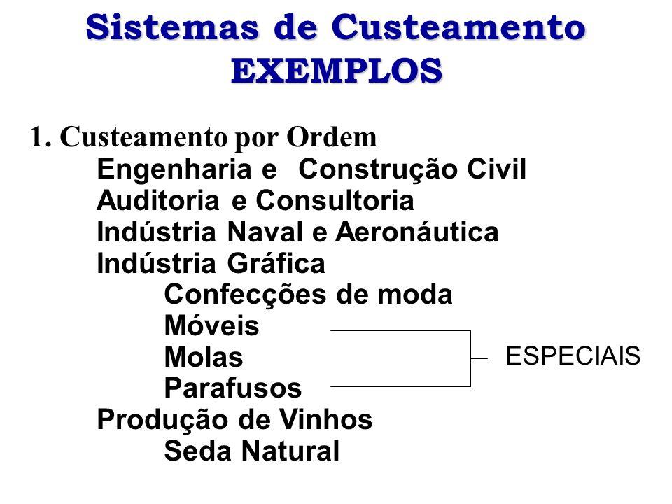 Sistemas de Custeamento EXEMPLOS 1. Custeamento por Ordem Engenharia e Construção Civil Auditoria e Consultoria Indústria Naval e Aeronáutica Indústri