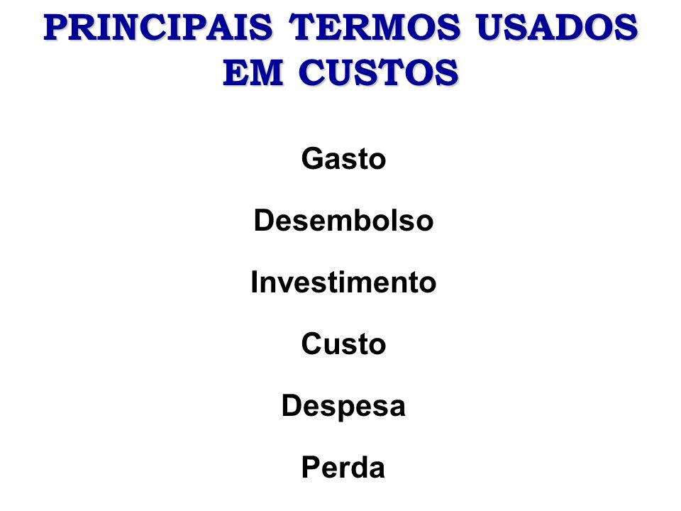 Definições de termos utilizados em custos Gasto –Sacrifício financeiro para obter um produto ou um serviço, independentemente da finalidade.