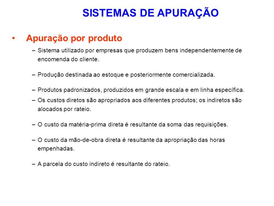 SISTEMAS DE APURAÇÃO Apuração por produto –Sistema utilizado por empresas que produzem bens independentemente de encomenda do cliente. –Produção desti