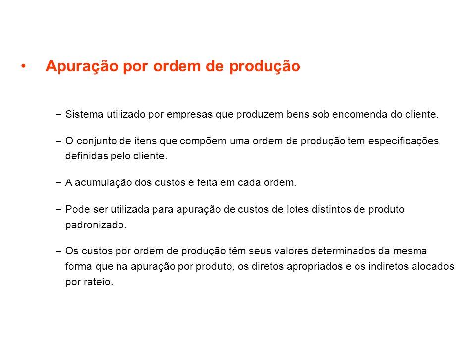 Apuração por ordem de produção –Sistema utilizado por empresas que produzem bens sob encomenda do cliente. –O conjunto de itens que compõem uma ordem