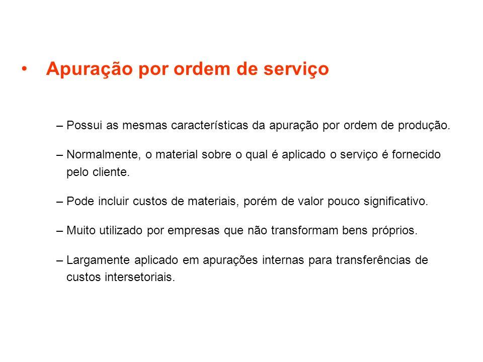 Apuração por ordem de serviço –Possui as mesmas características da apuração por ordem de produção. –Normalmente, o material sobre o qual é aplicado o