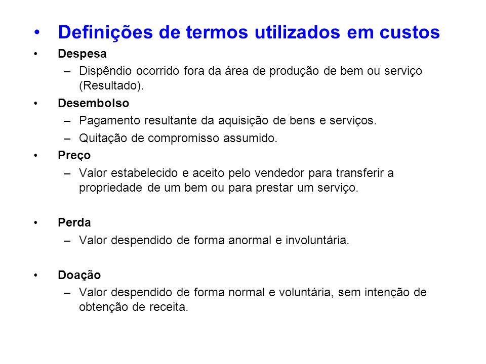 Definições de termos utilizados em custos Despesa –Dispêndio ocorrido fora da área de produção de bem ou serviço (Resultado). Desembolso –Pagamento re