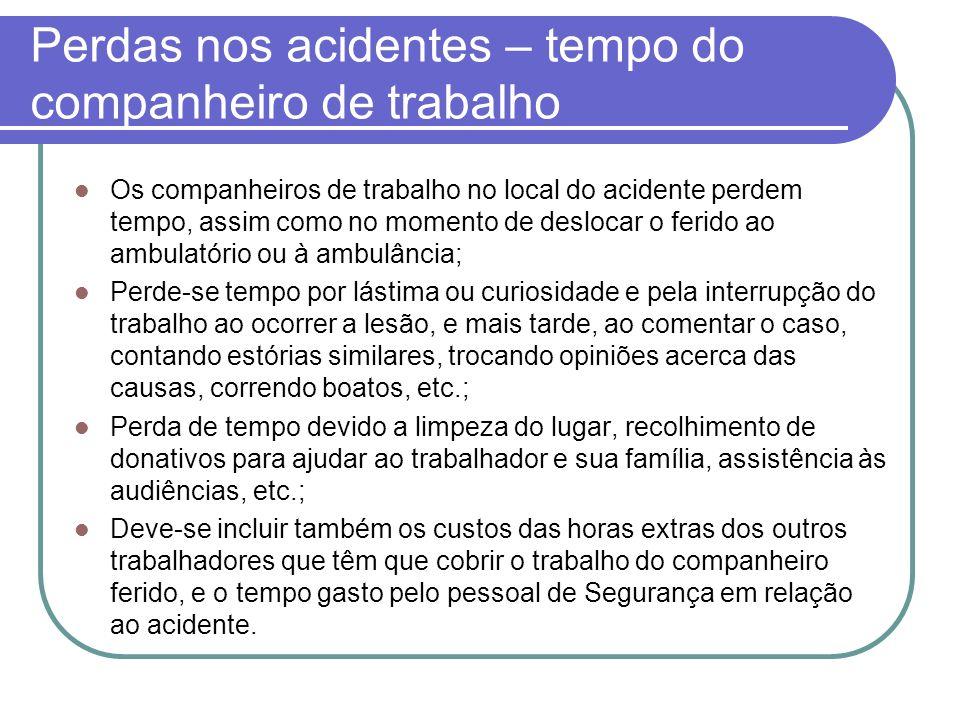 Perdas nos acidentes – tempo do companheiro de trabalho Os companheiros de trabalho no local do acidente perdem tempo, assim como no momento de desloc
