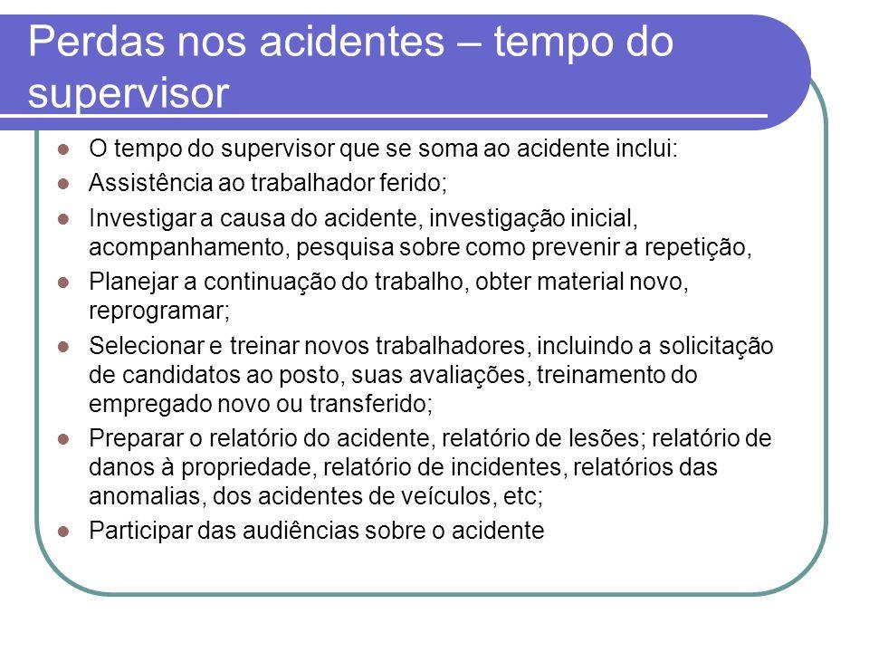Perdas nos acidentes – tempo do supervisor O tempo do supervisor que se soma ao acidente inclui: Assistência ao trabalhador ferido; Investigar a causa
