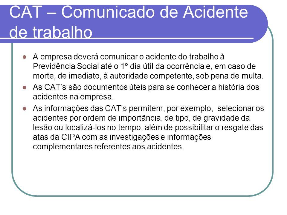 CAT – Comunicado de Acidente de trabalho A empresa deverá comunicar o acidente do trabalho à Previdência Social até o 1º dia útil da ocorrência e, em