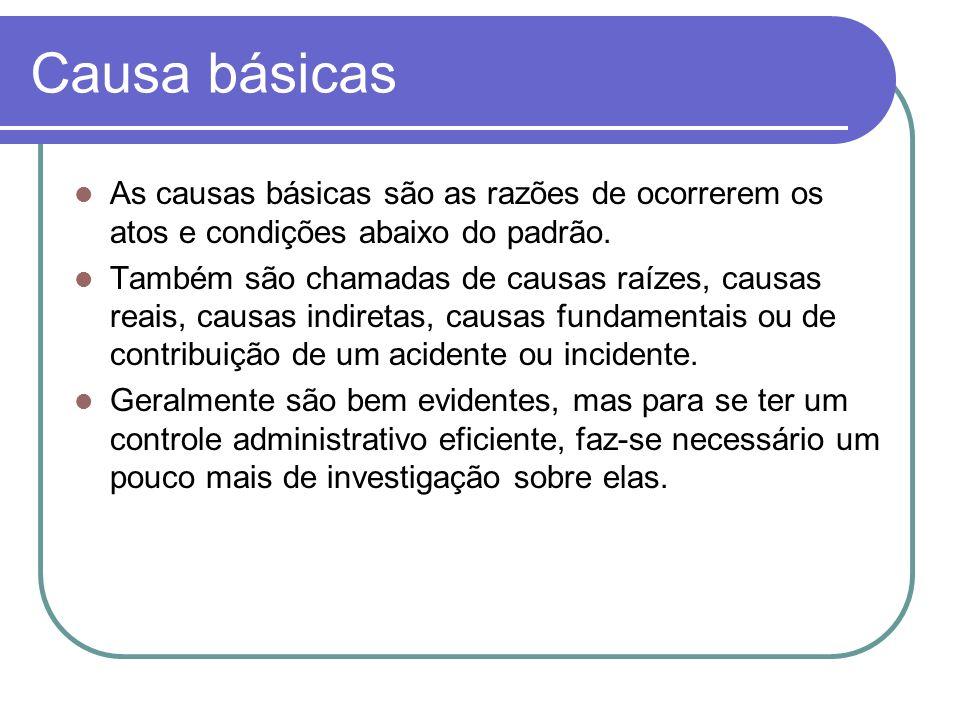 Causa básicas As causas básicas são as razões de ocorrerem os atos e condições abaixo do padrão. Também são chamadas de causas raízes, causas reais, c