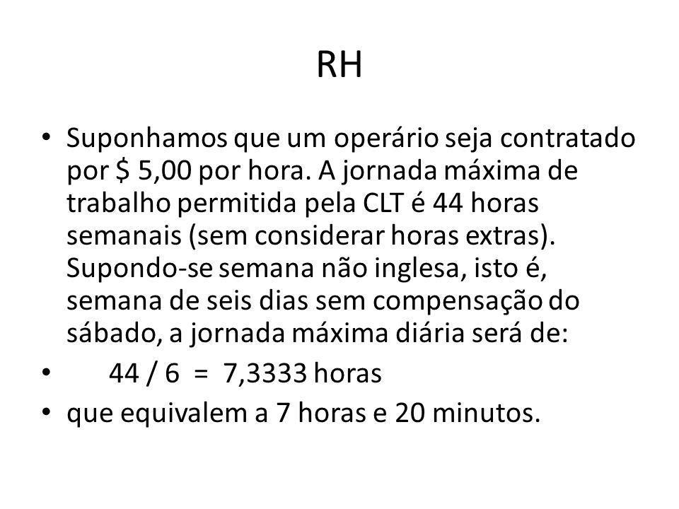 RH Suponhamos que um operário seja contratado por $ 5,00 por hora. A jornada máxima de trabalho permitida pela CLT é 44 horas semanais (sem considerar