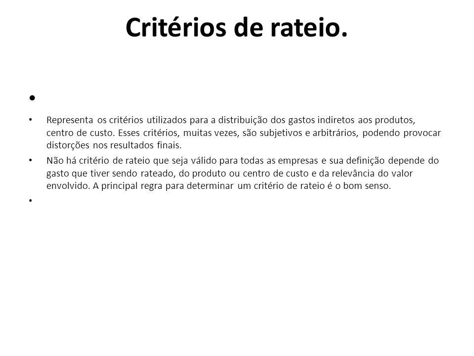 Critérios de rateio. Representa os critérios utilizados para a distribuição dos gastos indiretos aos produtos, centro de custo. Esses critérios, muita