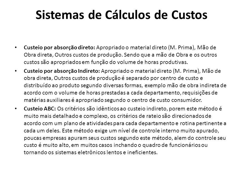 Sistemas de Cálculos de Custos Custeio por absorção direto: Apropriado o material direto (M. Prima), Mão de Obra direta, Outros custos de produção. Se