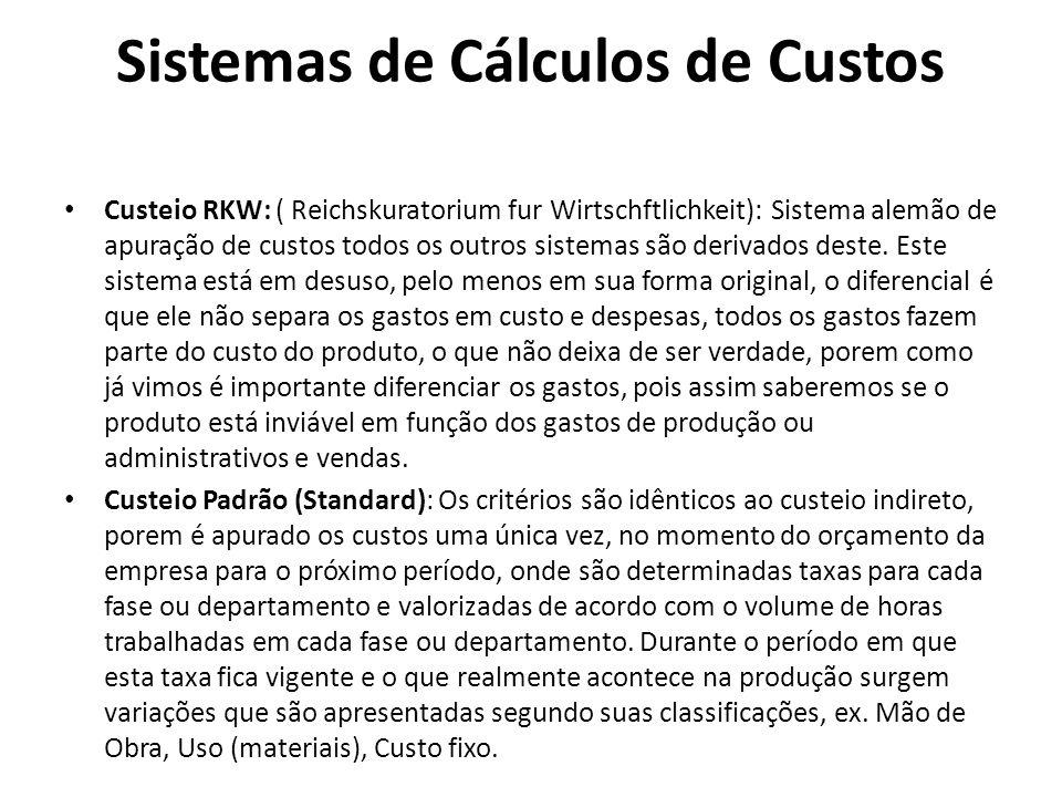 Sistemas de Cálculos de Custos Custeio RKW: ( Reichskuratorium fur Wirtschftlichkeit): Sistema alemão de apuração de custos todos os outros sistemas s