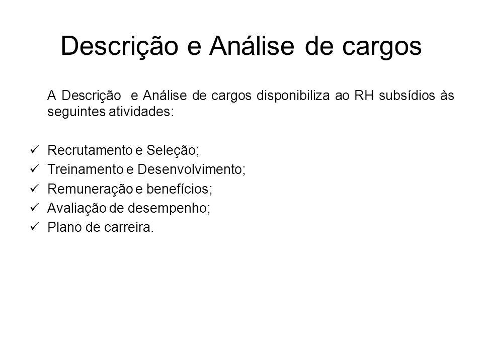 Descrição e Análise de cargos A Descrição e Análise de cargos disponibiliza ao RH subsídios às seguintes atividades: Recrutamento e Seleção; Treinamen