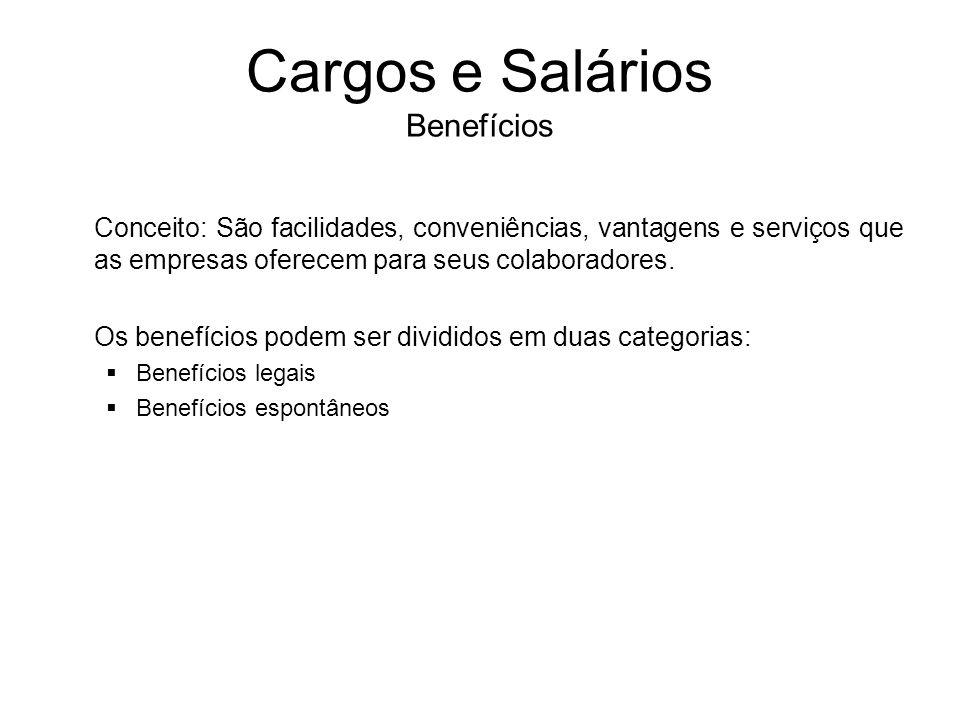 Cargos e Salários Benefícios Conceito: São facilidades, conveniências, vantagens e serviços que as empresas oferecem para seus colaboradores. Os benef