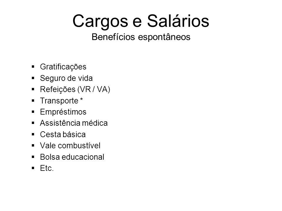 Cargos e Salários Benefícios espontâneos Gratificações Seguro de vida Refeições (VR / VA) Transporte * Empréstimos Assistência médica Cesta básica Val