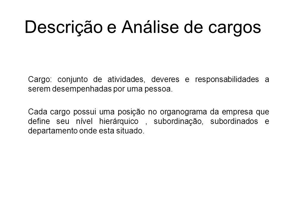 Descrição e Análise de cargos Cargo: conjunto de atividades, deveres e responsabilidades a serem desempenhadas por uma pessoa. Cada cargo possui uma p