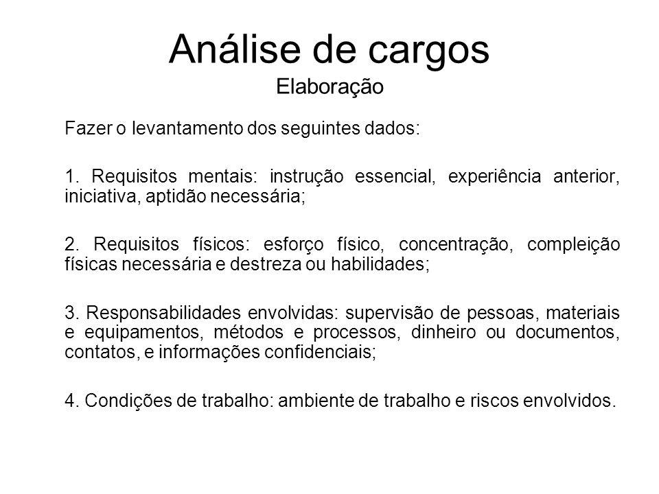Análise de cargos Elaboração Fazer o levantamento dos seguintes dados: 1. Requisitos mentais: instrução essencial, experiência anterior, iniciativa, a