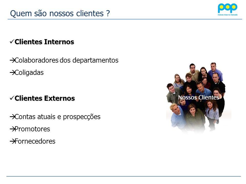 Clientes Internos Clientes Internos Colaboradores dos departamentos Coligadas Clientes Externos Clientes Externos Contas atuais e prospecções Promotor