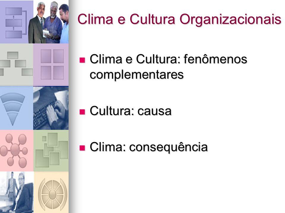 Clima e Cultura Organizacionais Clima e Cultura: fenômenos complementares Clima e Cultura: fenômenos complementares Cultura: causa Cultura: causa Clim