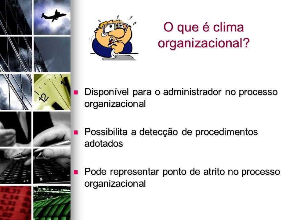 O que é clima organizacional? Disponível para o administrador no processo organizacional Disponível para o administrador no processo organizacional Po