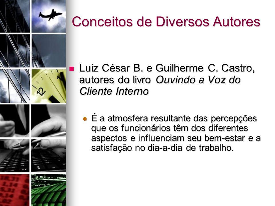 Conceitos de Diversos Autores Luiz César B. e Guilherme C. Castro, autores do livro Ouvindo a Voz do Cliente Interno Luiz César B. e Guilherme C. Cast