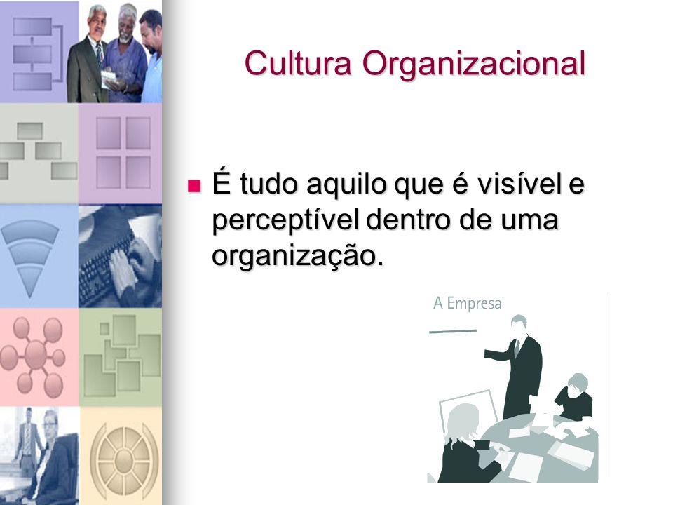 Cultura Organizacional É tudo aquilo que é visível e perceptível dentro de uma organização. É tudo aquilo que é visível e perceptível dentro de uma or