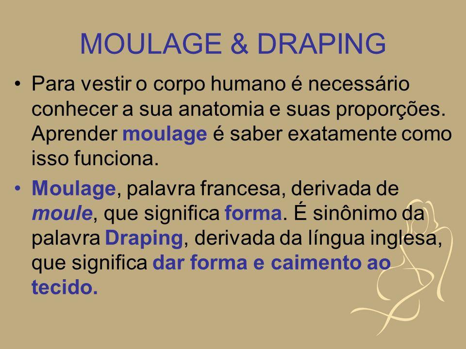 MOULAGE & DRAPING Para vestir o corpo humano é necessário conhecer a sua anatomia e suas proporções. Aprender moulage é saber exatamente como isso fun