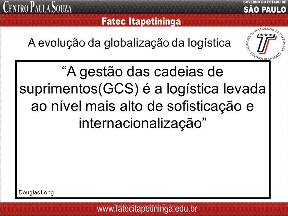 A evolução da globalização da logística Prof. Antonio Lechugo Rubio A gestão das cadeias de suprimentos(GCS) é a logística levada ao nível mais alto d