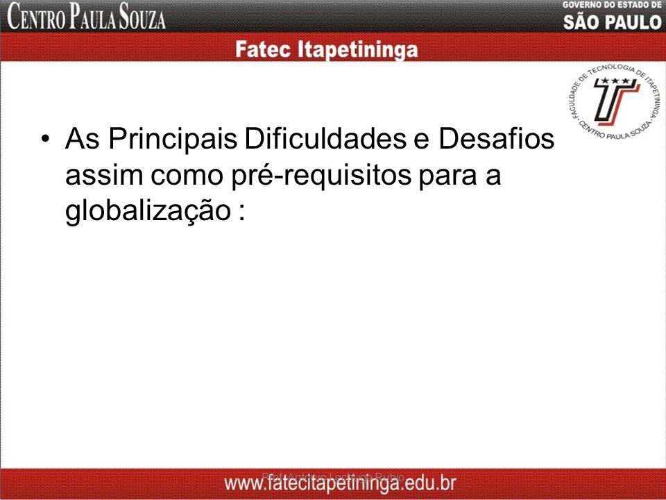 As Principais Dificuldades e Desafios assim como pré-requisitos para a globalização : Prof. Antonio Lechugo Rubio