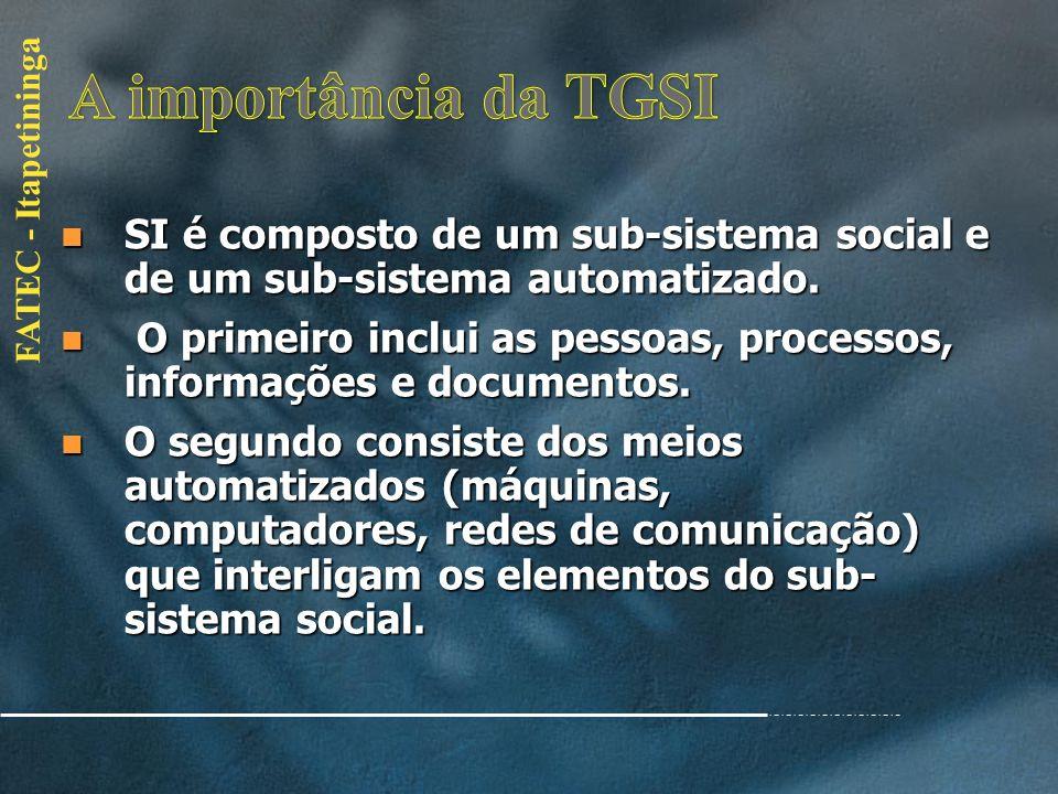 FATEC - Itapetininga Um Sistema de Informação (SI) é um sistema cujo elemento principal é a informação. Seu objetivo é armazenar, tratar e fornecer in