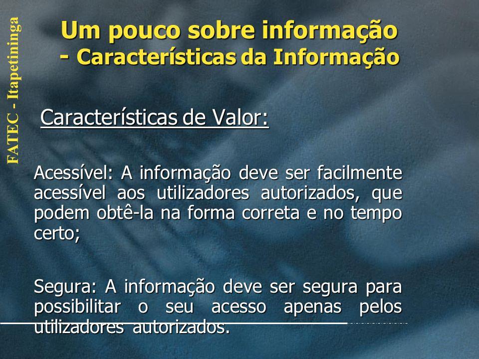 FATEC - Itapetininga Características de Valor: Características de Valor: Confiável: A confiabilidade da informação depende do método de recolha dos da