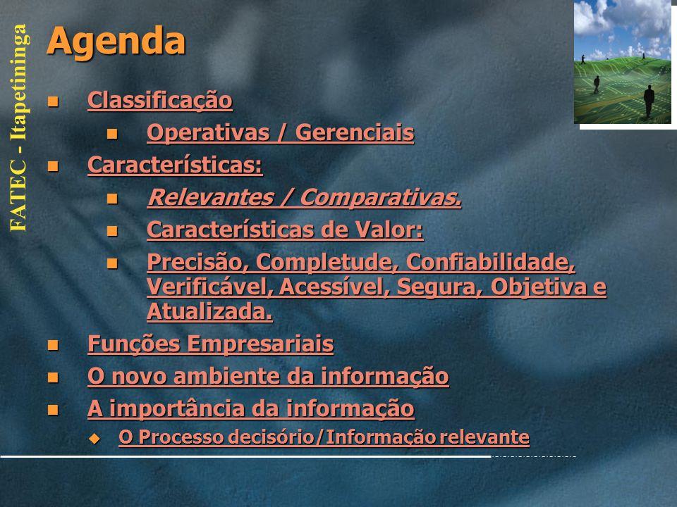 FATEC - Itapetininga Agenda Conceitos Básicos: Conceitos Básicos: Conceitos Básicos: Conceitos Básicos: Teoria Geral de Sistemas Teoria Geral de Siste