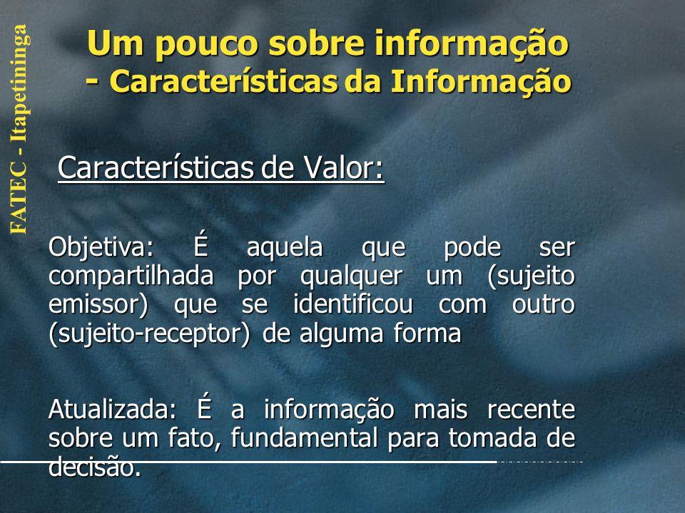 FATEC - Itapetininga Características de Valor: Características de Valor: Acessível: A informação deve ser facilmente acessível aos utilizadores autori
