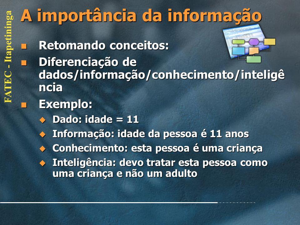 FATEC - Itapetininga O novo ambiente da Informação Portanto, o que se espera da Informática é que ela possa ajudar as Organizações a atingirem seus ob