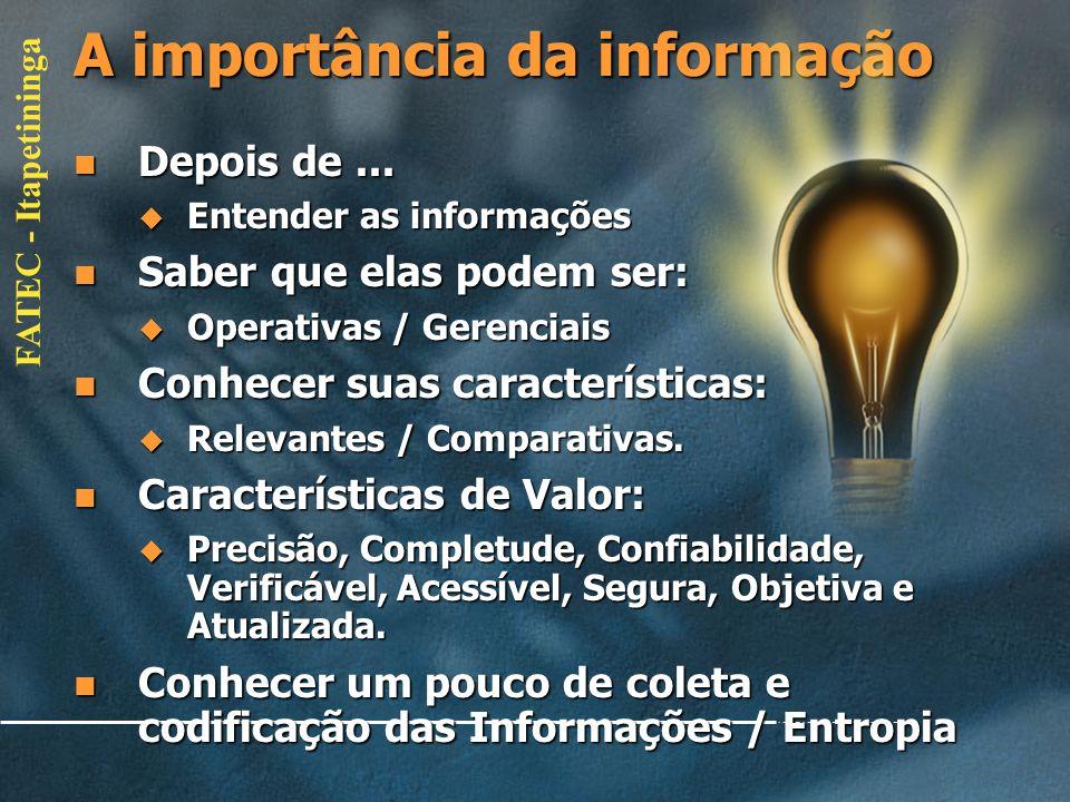FATEC - Itapetininga A importância da informação Retomando conceitos: Retomando conceitos: Diferenciação de dados/informação/conhecimento/inteligê nci