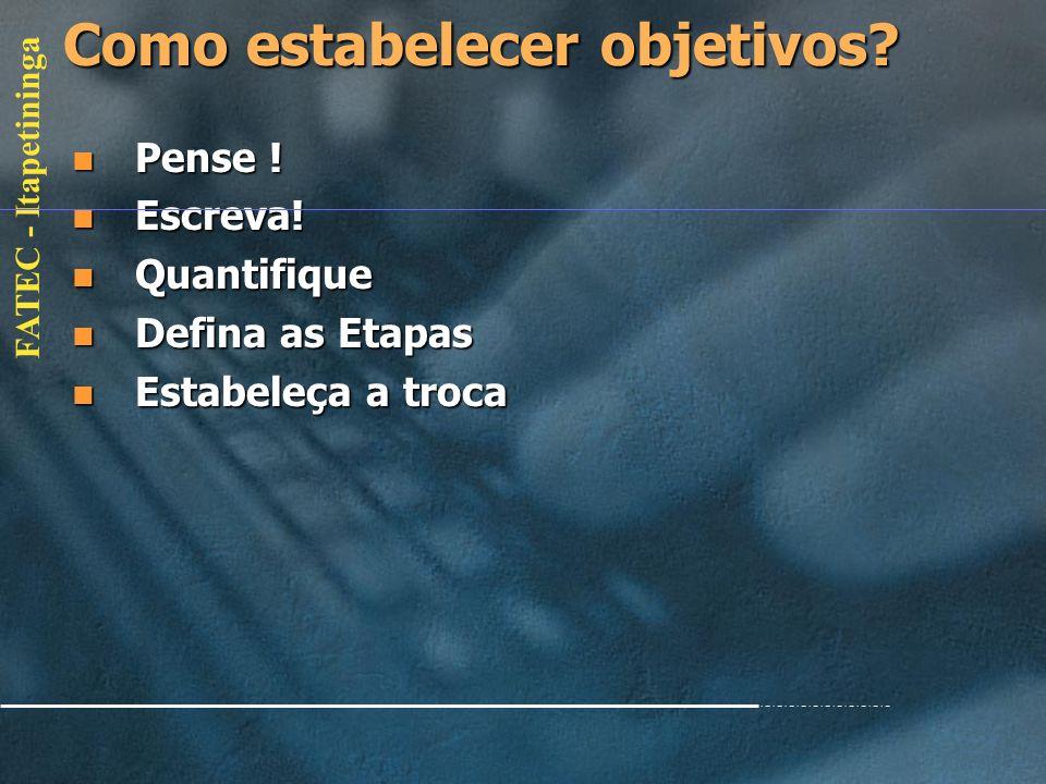 FATEC - Itapetininga Objetivos A importância dos objetivos A importância dos objetivos Objetivos ou Metas? Objetivos ou Metas? Objetivos/Metas são pro